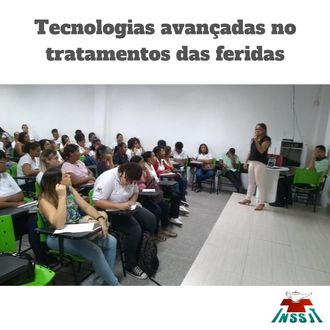 Palestra sobre Tecnologias avançadas no tratamentos das feridas com a enfermeira Daniele Vieira.